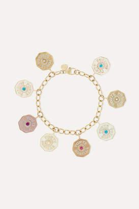 Marlo Laz 14-karat Yellow, Rose And White Gold, Enamel And Multi-stone Bracelet