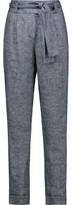 Maje Parisien Belted Linen-Blend Twill Tapered Pants