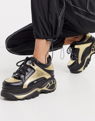 Buffalo David Bitton chunky lace up sneakers in black and gold