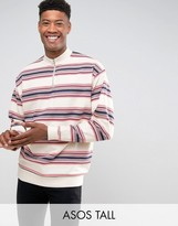 Asos TALL Oversized Half Zip Track Sweatshirt with Stripe