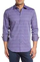 Bugatchi Men's Shaped Fit Windowpane Sport Shirt