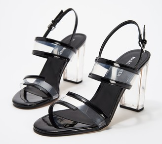 Marc Fisher Patent Clear Acrylic Heeled Sandals- Outcry
