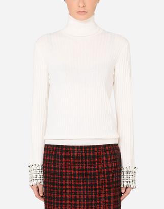 Dolce & Gabbana Wool Turtle-Neck Sweater With Tweed Cuffs