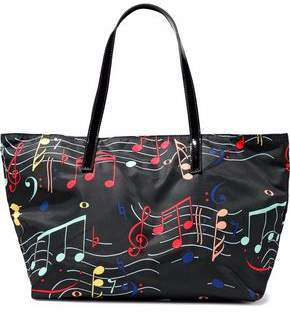 Red(V) Red(v) Patent Leather-trimmed Printed Twill Tote