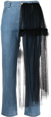 Act N�1 Tulle-Detail Cropped Jeans