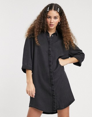 Monki mini denim shirt dress in black