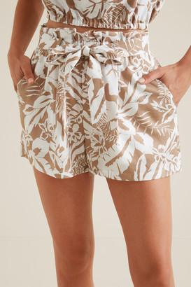 Seed Heritage Palm Print Tie Short