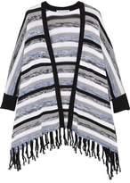 Autumn Cashmere Fringed Striped Cotton Cardigan