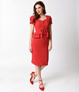 Stop Staring 1940s Style Red Short Sleeve Rosemary Pencil Dress