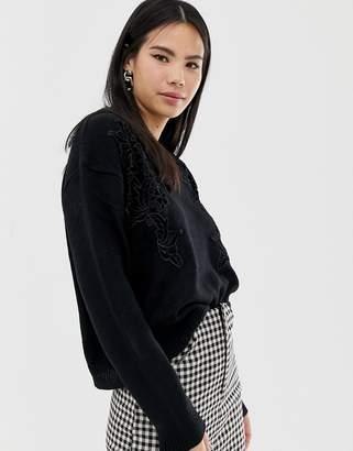 Brave Soul boxy fit jumper with velvet applique in black
