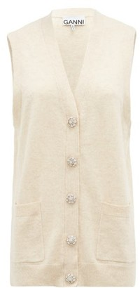 Ganni Crystal-button Sleeveless Cashmere Cardigan - Ivory