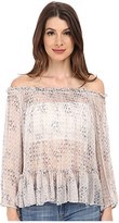 Rebecca Taylor Long Sleeve Box Step Off Shoulder Top