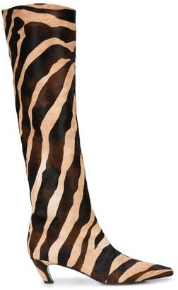KHAITE The Knee-High zebra print boots