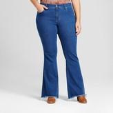 Ava & Viv Women's Plus Size Flare Jeans with Raw Hem Medium Wash