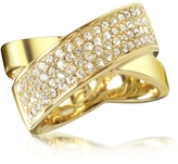 Michael Kors Golden Brass and Crystal Pave Women's Ring
