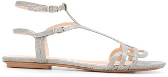 Chie Mihara Side Buckled Snakeskin-Effect Sandals
