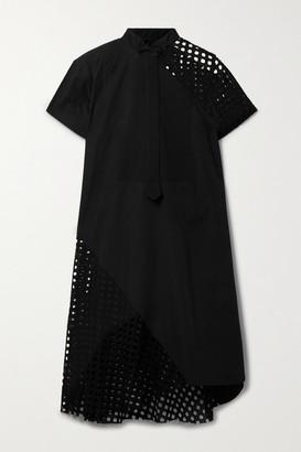 Sacai Cutout Poplin, Broderie Anglaise And Textured-cotton Shirt Dress - Black