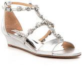 Badgley Mischka Terry II Metallic Jeweled Suede Wedge Dress Sandals