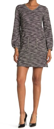 Max Studio V-Neck Patch Pocket Shift Dress