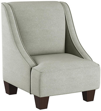 One Kings Lane Fletcher Kids' Accent Chair - Mint Linen - frame, espresso; upholstery, mint