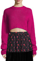 McQ Cropped Mohair Crewneck Long Sweater
