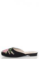 Quiz Black Embroidered Slipper Pumps