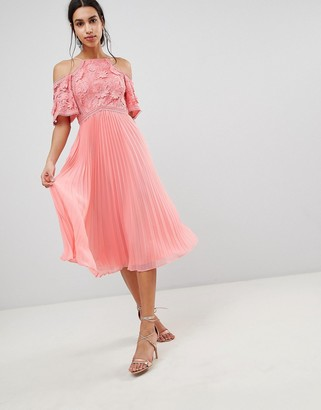 ASOS DESIGN Guipure Lace Top Midi Dress With Pleated Skirt