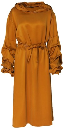 Bluzat Midi Hooded Dress With Puffed Sleeves & Drawstring Waist