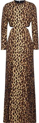 A.L.C. Gabriela Cutout Leopard-print Stretch-silk Maxi Dress