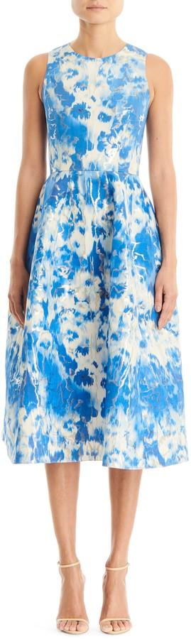Carolina Herrera Metallic Jacquard Fit & Flare Dress
