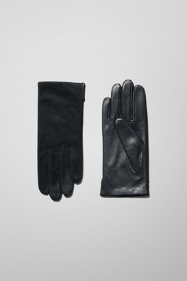 Weekday Vent Leather Gloves - Black