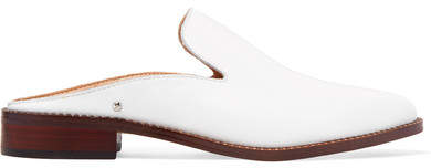 Sam Edelman Crystal-embellished Leather Slippers - White