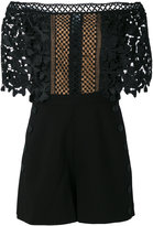 Self-Portrait off-shoulders lace playsuit - women - Polyester - 10