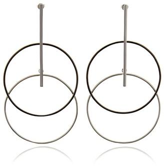Georgina Jewelry Silver With Black Rhodium Two Tone Circle Earrings