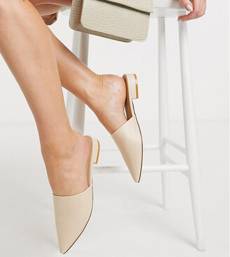 Truffle Collection Wide Fit pointed flat mules in cream