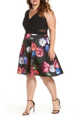 Xscape Evenings Floral Fit & Flare Cocktail Dress
