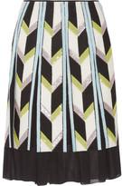 Emilio Pucci Embellished Felt-appliquéd Silk Chiffon Skirt - White