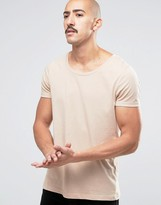 Asos T-Shirt With Scoop Neck In Beige Marl