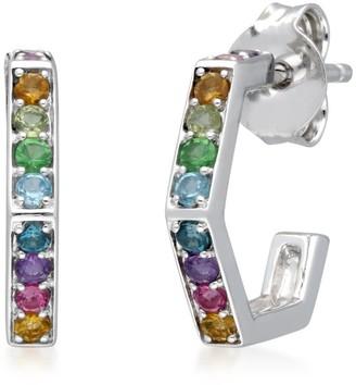 Rainbow Gems Hex Hoops in Sterling Silver
