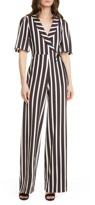 Alice + Olivia Luana Striped Wrap Front Jumpsuit