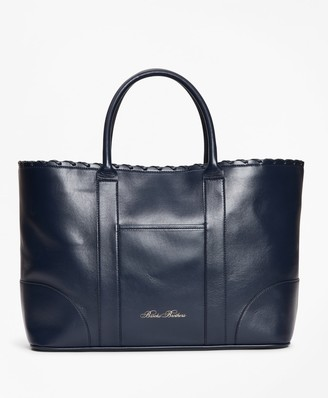 Brooks Brothers Logo-Embossed Leather Tote Bag