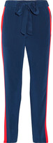 Tory Burch Desmond Striped Silk Crepe De Chine Tapered Pants - Navy