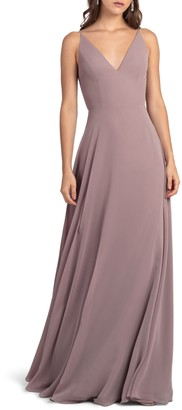 Jenny Yoo Collection Dani Tie Back V-Neck Gown