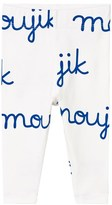 Tinycottons Off-White and Blue Moujik Name Leggings