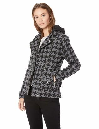 Yoki Women's Houndstooth Print Short Wool Jacket