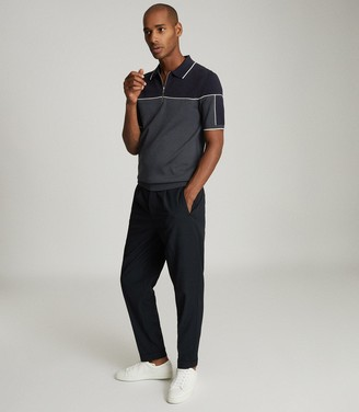 Reiss NELSON TIPPED ZIP NECK POLO SHIRT Navy/ivory