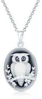 Overstock Vintage Style Black Oval Wise Owl Cameo Pendant Necklace 925 Silver - 16