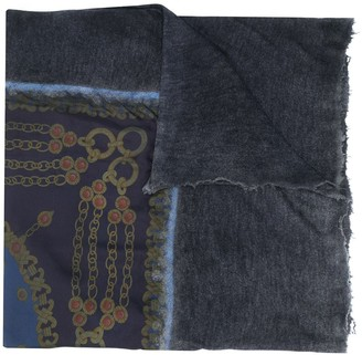 Avant Toi Frayed Printed Scarf