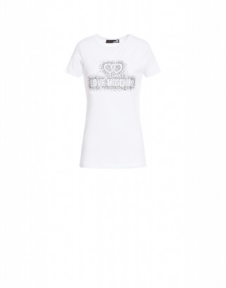 Love Moschino T-shirt Crystal Logo Woman White Size 38 It - (4 Us)