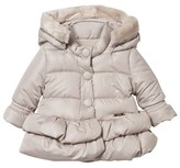 Mayoral Champagne Hooded Coat with Detachable Faux Fur Trim